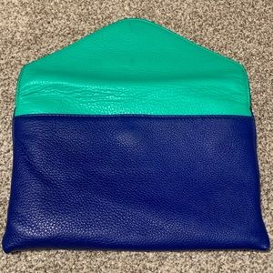 JCrew clutch bright blue, green, gold